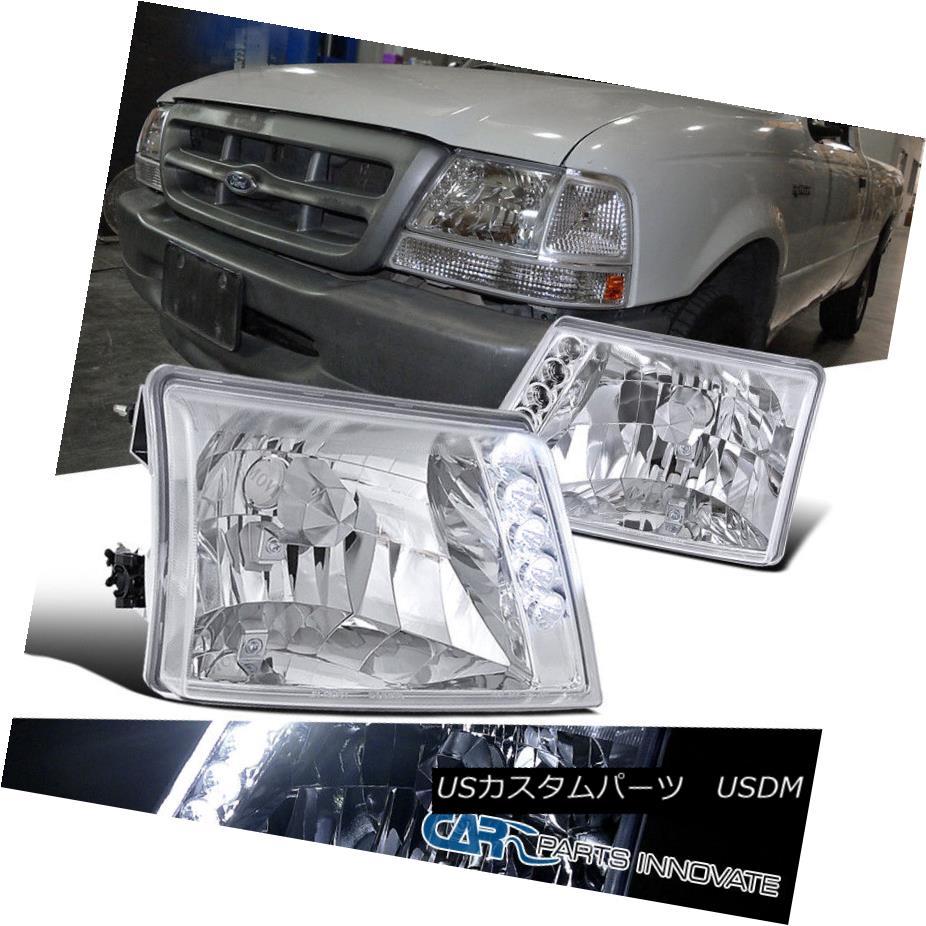 ヘッドライト 1998-2000 Ford Ranger Pickup Crystal Chrome LED DRL Headlights 1998-2000フォードレンジャーピックアップクリスタルクロムLED DRLヘッドライト