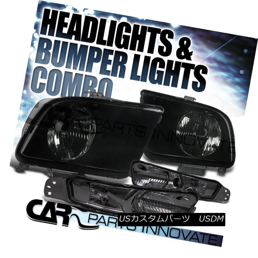 ヘッドライト 2005-2009 Ford Mustang GT Smoke Headlights+Bumper Signal Lamp 2005-2009 Ford Mustang GTスモークヘッドライト+ Bum