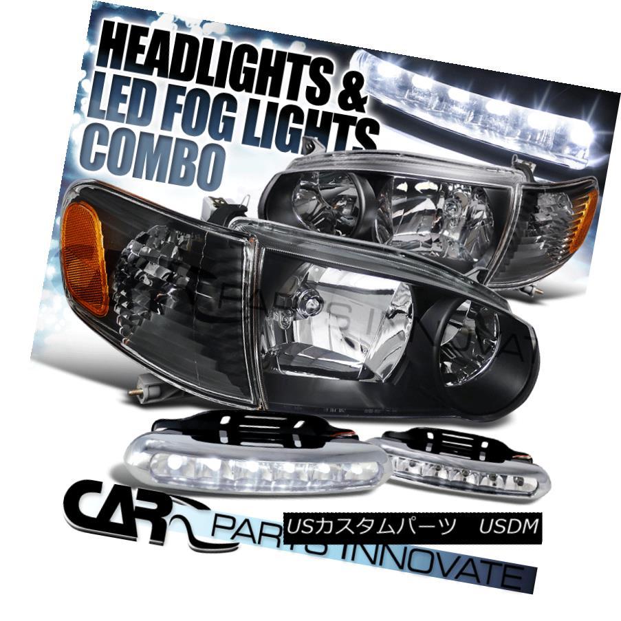 ヘッドライト For 01-02 Corolla JDM Black Headlights Corner Turn Signal Lamps+6-LED Fog Lights 01-02 Corolla JDMブラックヘッドライトコーナーターンシグナルランプ+ 6-LEDフォグライト
