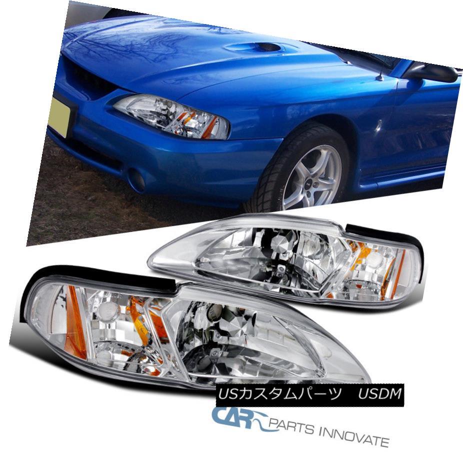 ヘッドライト Ford 94-98 Mustang Replacement One Piece 2in1 Clear Headlights Corner Lamps Pair フォード94-98マスタング交換ワンピース2in1クリアヘッドライトコーナーランプペア