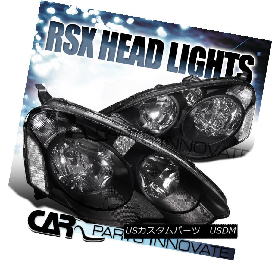 ヘッドライト Acura 02-04 RSX DC5 Replacement Headlights Front Lamps Black Housing Clear Lens アキュラ02-04 RSX DC5交換用ヘッドライトフロントランプブラックハウジングクリアレンズ