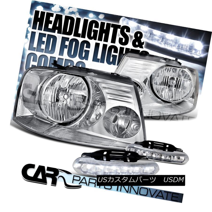 ヘッドライト Ford 04-08 F150 Lincoln 06-08 Mark LT Chrome Clear Headlights+6-LED Fog Lamps フォード04-08 F150リンカーン06-08マークLTクロームクリアヘッドライト+ 6-L  EDフォグランプ