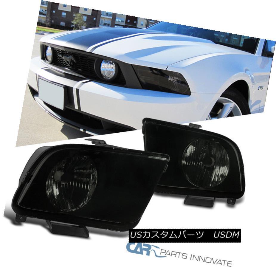 ヘッドライト Ford 05-09 Mustang GT Black Housing Smoke Lens Head Lights Lamps Left+Right フォード05-09ムスタングGTブラックハウジングスモークレンズヘッドライトランプ左+右