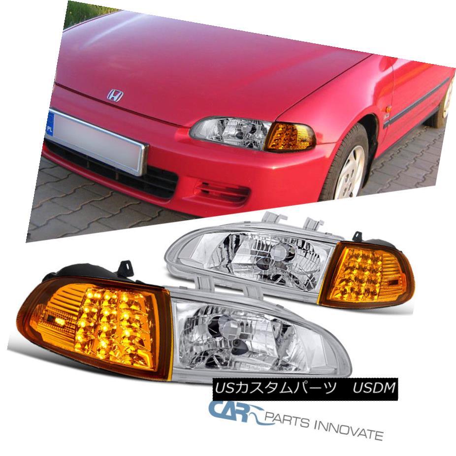 ヘッドライト Fit Honda 92-95 Civic 2/3Dr Clear Headlights+Amber LED Corner Signal Lamps Pair フィットホンダ92-95シビック2 / 3Drクリアヘッドライト+アンバー er LEDコーナー信号ランプペア