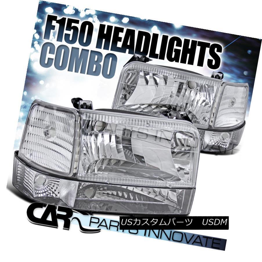 ヘッドライト 92-96 F150/250/350 Bronco Chrome Clear Lens Head Lights+Bumper+Corner Lamps 92-96 F150 / 250/350ブロンコムクリアレンズヘッドライト+バンパー+ コーナーランプ