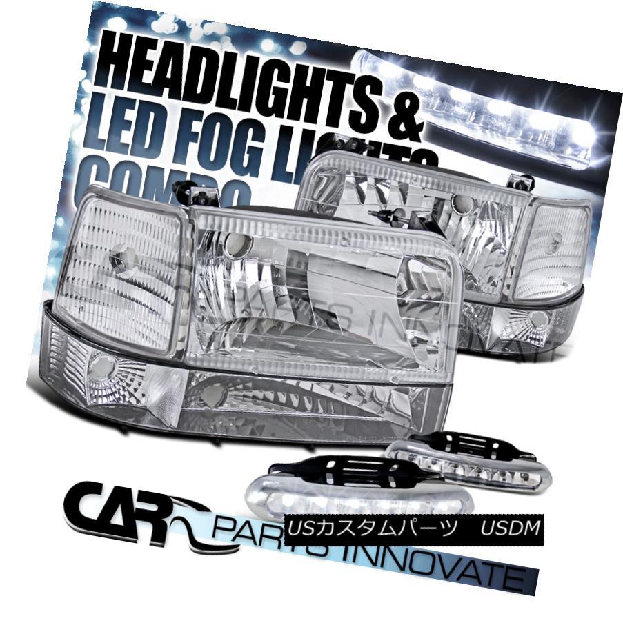 ヘッドライト 92-96 F150/250/350 Bronco Chrome Head Lights+Bumper+Corner+6-LED Fog Lamps 92-96 F150 / 250/350ブロンコクロームヘッドライト+バンパー+ コーナー+ 6-LEDフォグランプ
