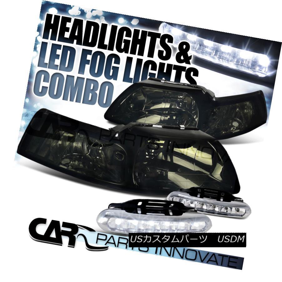 ヘッドライト Ford 99-04 Mustang Euro Smoke Tinted Headlights+6-LED Bumper Fog Lamps フォード99-04ムスタング・ユーロ・スモーク・ティント・ヘッドライト+ 6-L  EDバンパーフォグランプ