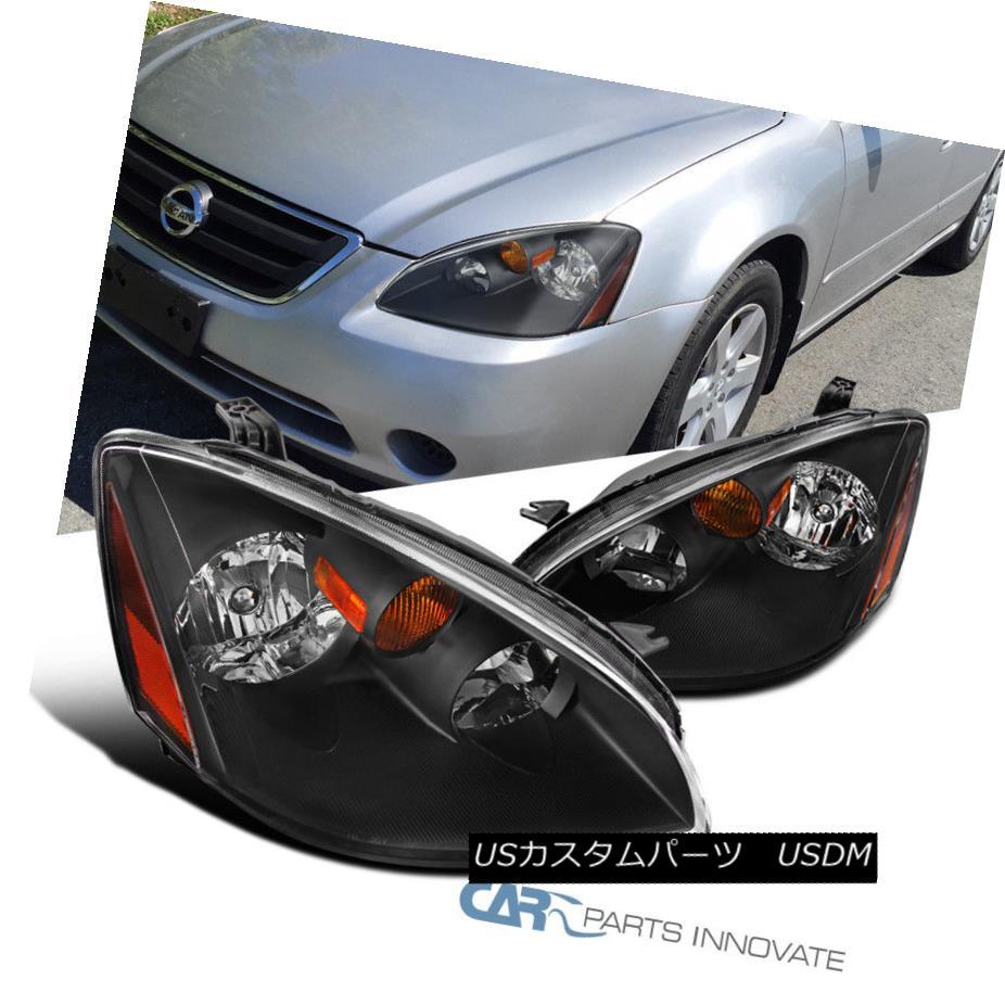 ヘッドライト Fit 2002-2004 Nissan Altima 4Dr Sedan Black Clear Headlights Lamps Left+Right フィット2002-2004日産アルティマ4Drセダンブラッククリアヘッドライトランプ左+右
