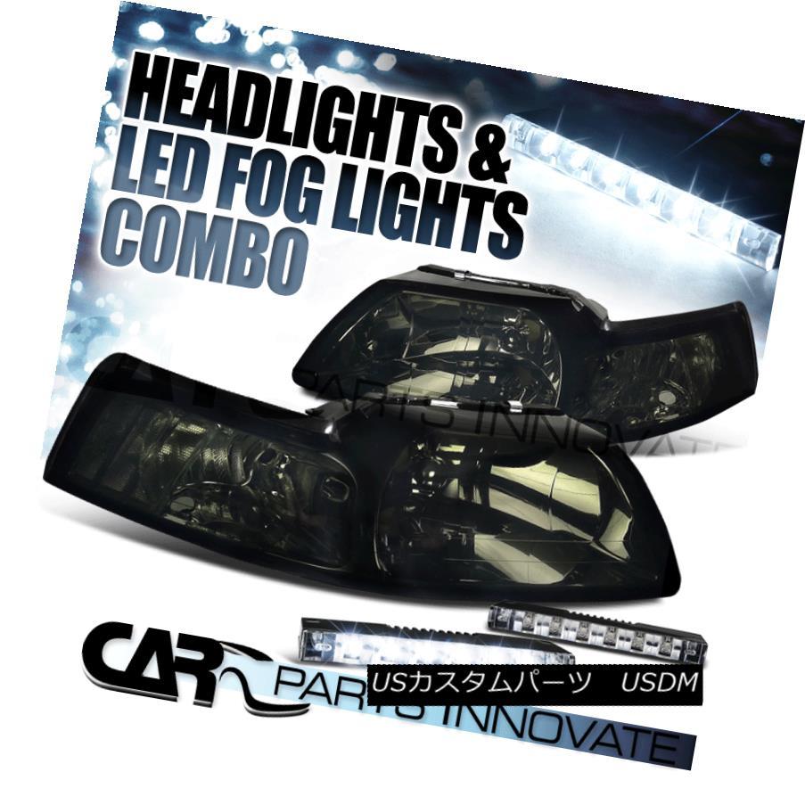 ヘッドライト 99-04 Ford Mustang GT Crystal Smoke Tint Lens Headlights+6-LED Fog Lamps 99-04 Ford Mustang GTクリスタルスモークティントレンズヘッドライト+ 6-L  EDフォグランプ
