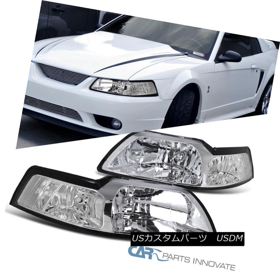 ヘッドライト 99-04 Ford Mustang GT Replacement Clear Headlights Driving Head Lamps Left+Right 99-04 Ford Mustang GT交換用クリアヘッドライトヘッドランプの駆動左+右