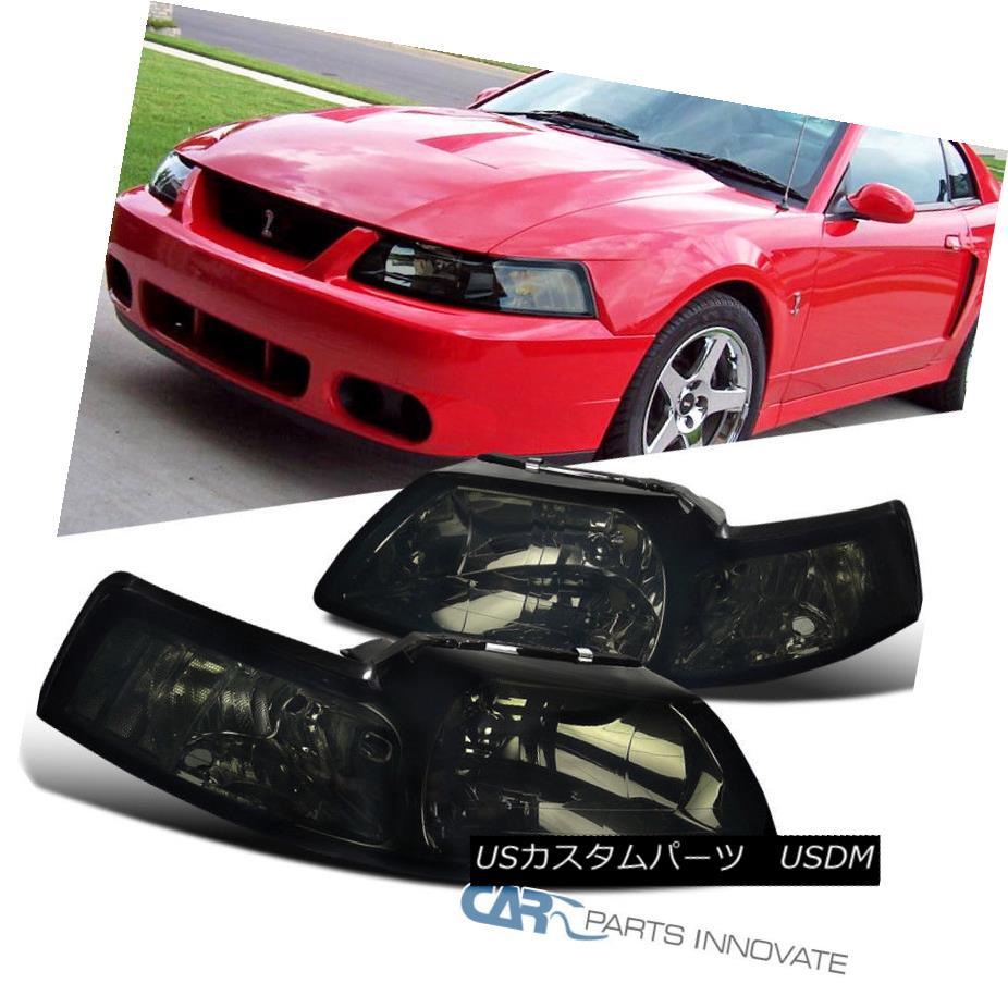 ヘッドライト 99-04 Ford Mustang Replacement Euro Smoke Tinted Headlights Driving Head Lamps 99-04フォードマスタング交換ユーロ煙ヘッドライトヘッドランプの駆動