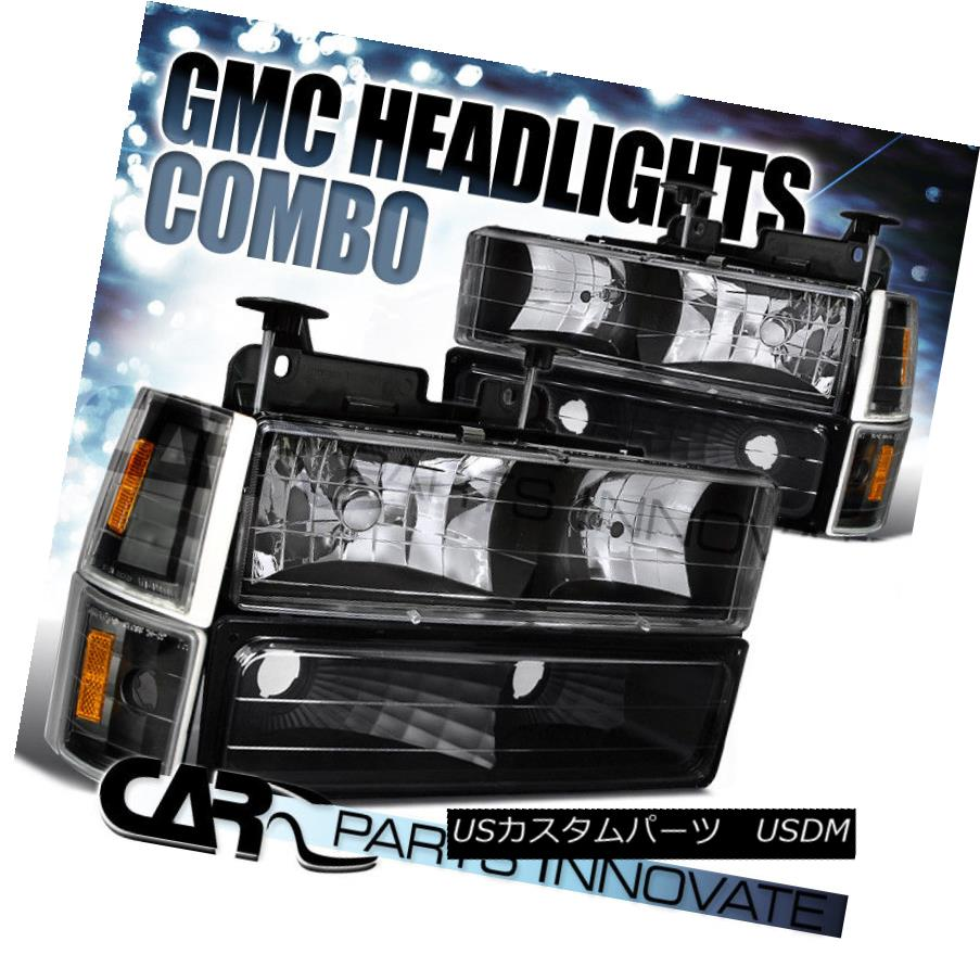 ヘッドライト 94-98 C10 C/K 1500 2500 3500 Suburban Yukon Headlights+Bumper Corner Lamp Black 94-98 C10 C / K 1500 2500 3500郊外のYukonヘッドライト+ Bum  /コーナーランプブラック