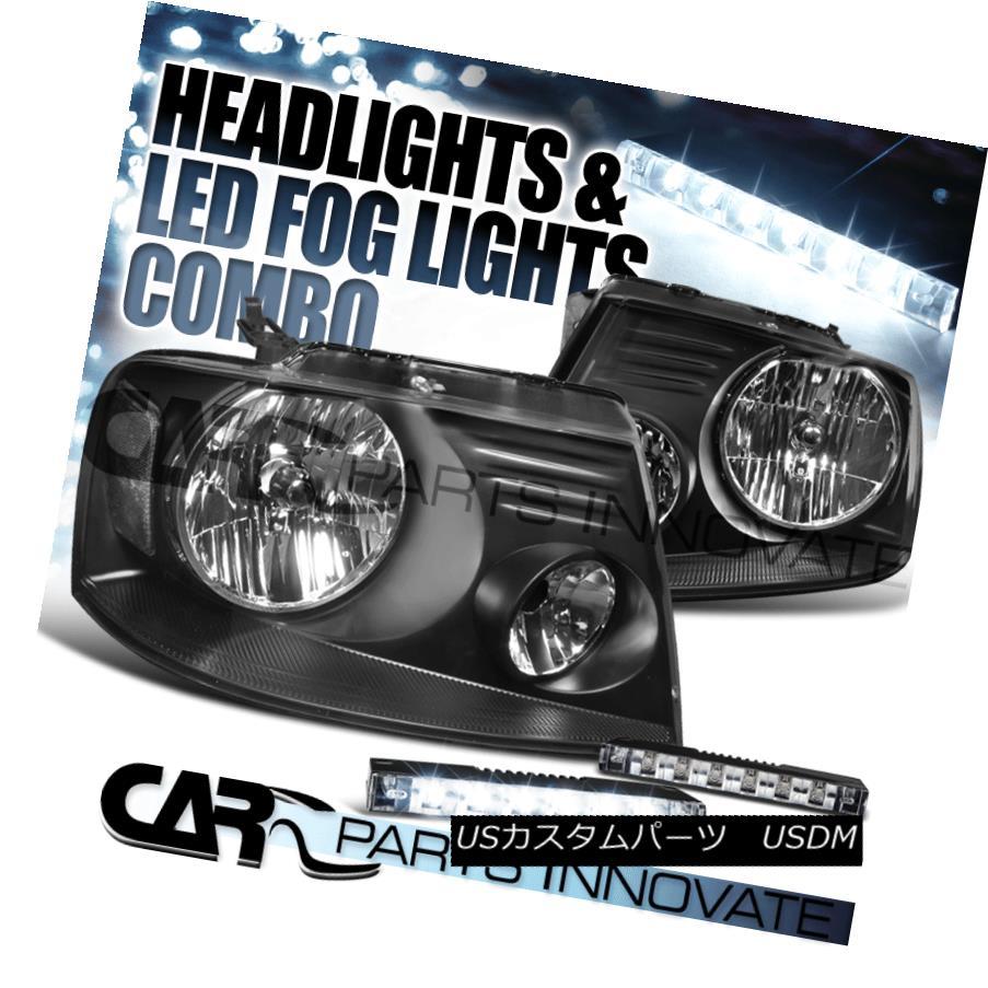 ヘッドライト 04-08 F-150 06-08 Mark LT Crystal Black Headlights+6-LED Bumper Fog Lamps 04-08 F-150 06-08マークLTクリスタルブラックヘッドライト+ 6-L  EDバンパーフォグランプ