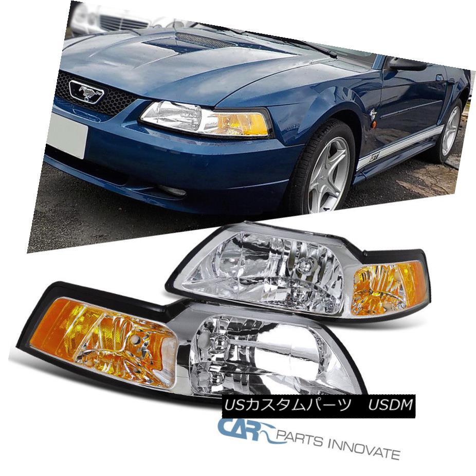 ヘッドライト 99-04 Ford Mustang GT Chrome Clear Driving Headlights+Corner Turn Signal Lamps 99-04 Ford Mustang GTクロームクリアードライビングヘッドライト+ Cor  ner Turnシグナルランプ