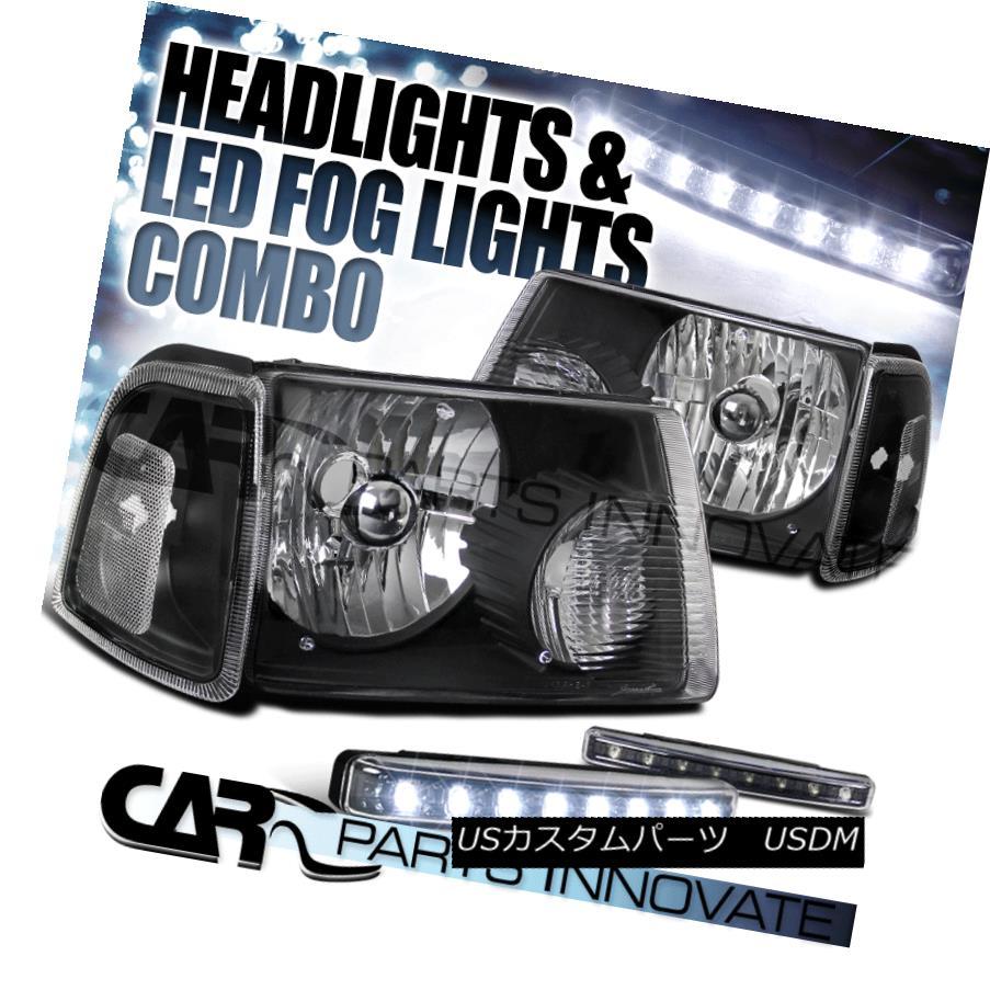 ヘッドライト 2001-2011 Ranger Black Clear Headlight+Black Corner Signal Lamp+8-LED Fog Lamps 2001-2011レンジャーブラッククリアヘッドライト+ Blac  kコーナー信号ランプ+ 8-LEDフォグランプ