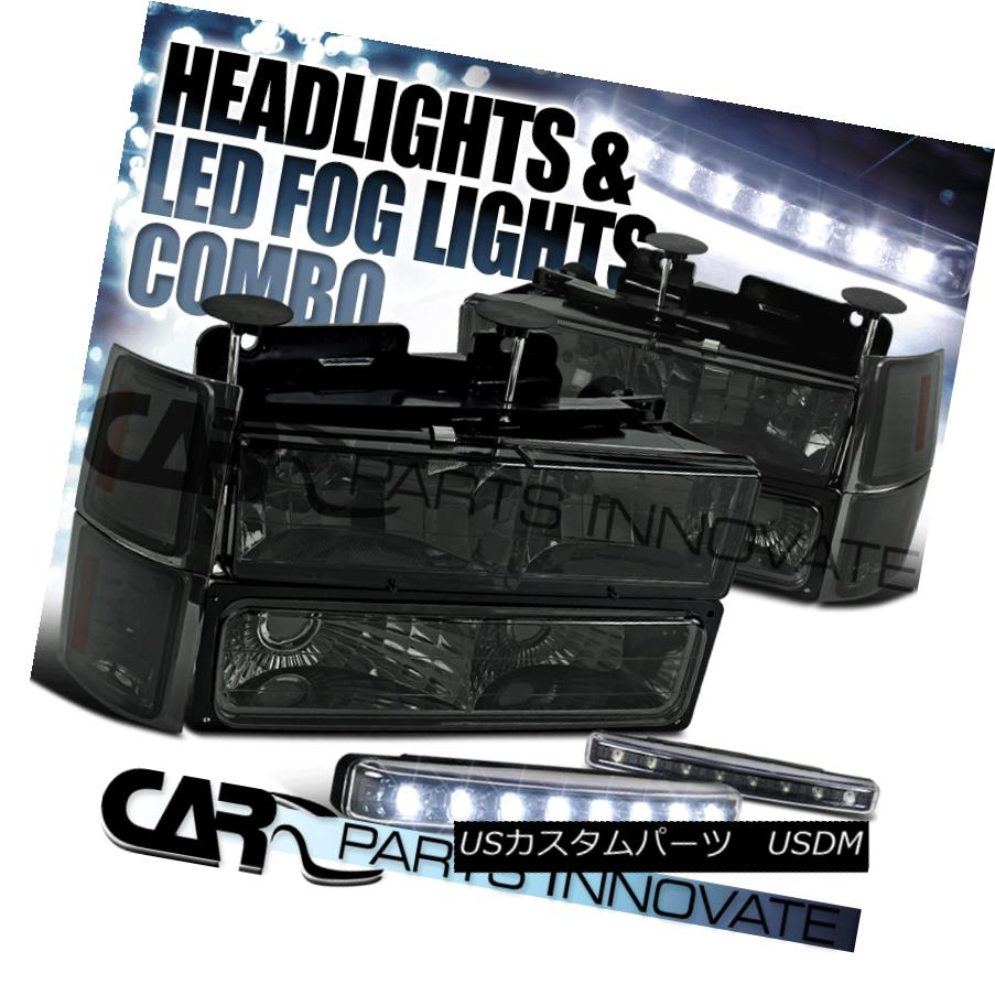ヘッドライト 1994-1998 Chevy C10 C/K 1500 Smoke Headlights+Bumper Corner Lamp+8-LED Fog Lamps 1994-1998 Chevy C10 C / K 1500スモークヘッドライト+ Bum 、コーナーランプ+ 8-LEDフォグランプ