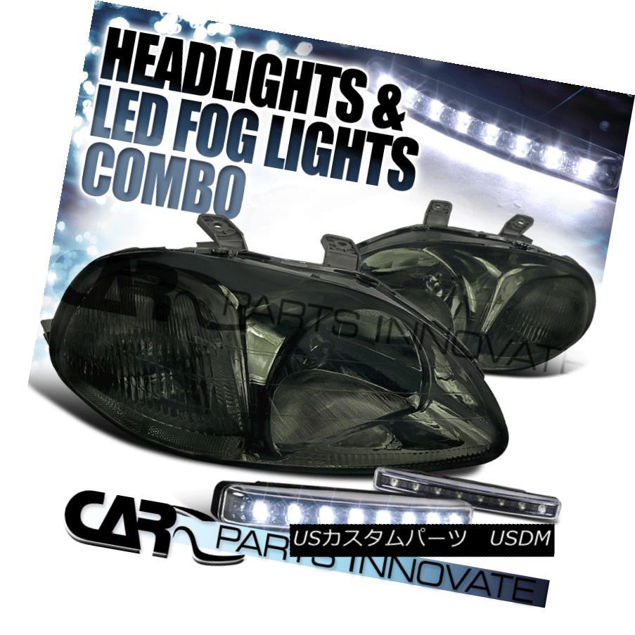 ヘッドライト For 1996-1998 Honda Civic EK EJ Smoked Lens Head Lights+8-LED Bumper Fog Lamps 1996-1998 Honda Civic EK EJスモークレンズヘッドライト+ 8-LEDバンパーフォグランプ