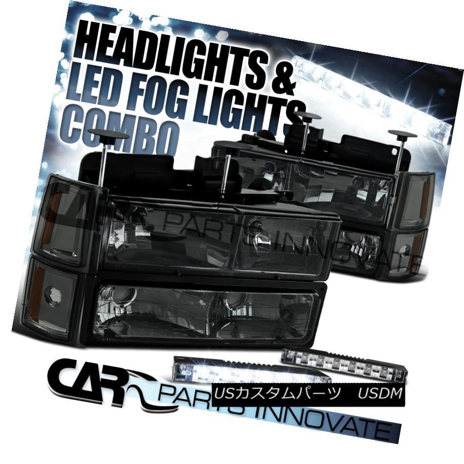 ヘッドライト 1994-1998 GMC C10 C/K Smoke Headlights w/ Bumper Corner Lamps+6-LED DRL 1994-1998 GMC C10 C / Kバンパーコーナーランプ+ 6-LED DRL付きスモークヘッドライト