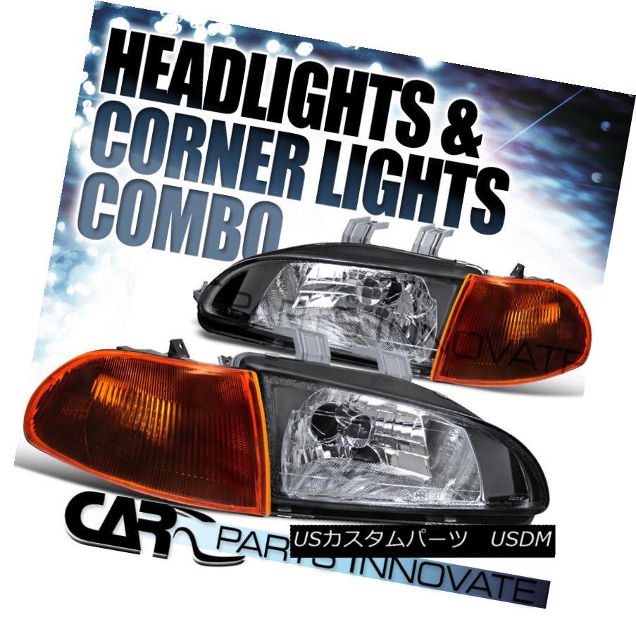 ヘッドライト Fit 1992-1995 Honda Civic 4Dr Sedan Black JDM Headlights+Dark Amber Corner Lamp フィット1992-1995ホンダシビック4DrセダンブラックJDMヘッドライト+ダーク kアンバーコーナーランプ