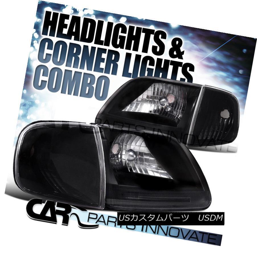 ヘッドライト Ford 97-03 F150 Expedition Crystal Black Headlights+Corner Signal Lamps フォード97-03 F150遠征クリスタルブラックヘッドライト+ Cor  ner信号ランプ