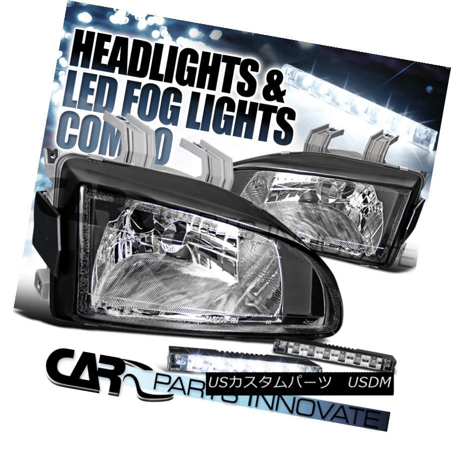 ヘッドライト Fit 92-95 Honda Civic 2/3/4Dr JDM Crystal Black Headlights+6-LED Fog Lamps フィット92-95ホンダシビック2/3 / 4Dr JDMクリスタルブラックヘッドライト+ 6-L  EDフォグランプ