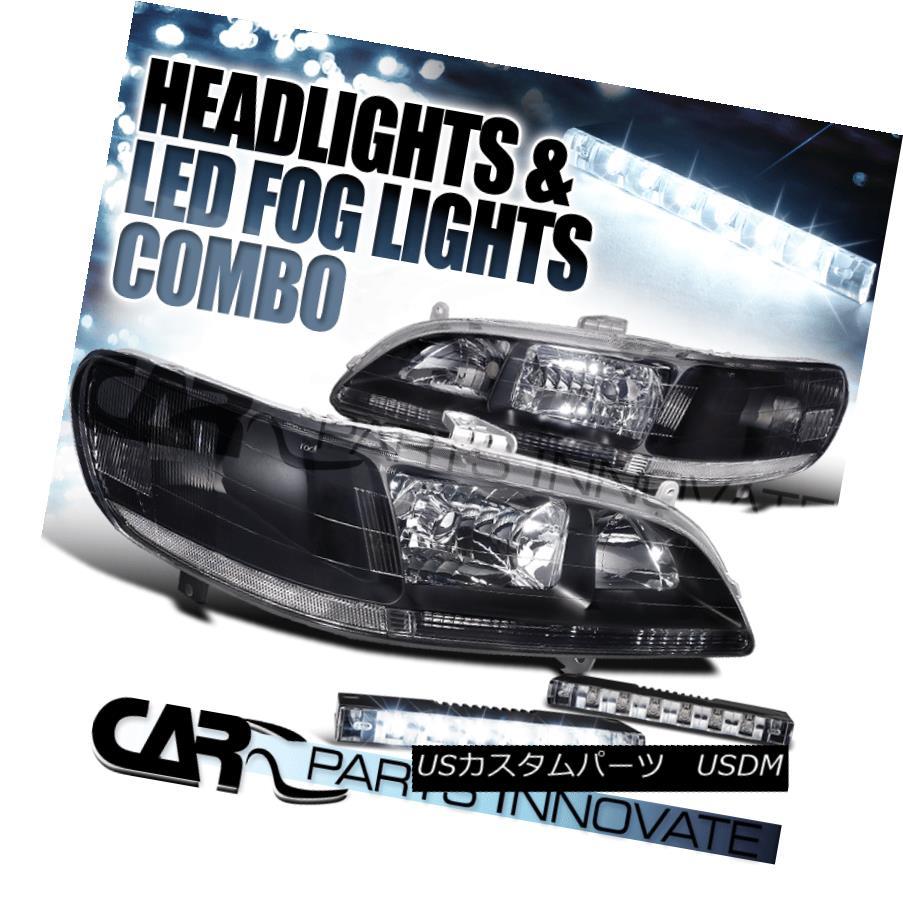 ヘッドライト For 1998-2002 Honda Accord JDM Black Clear Headlights+6-LED Bumper Fog Lights 1998 - 2002年ホンダアコードJDMブラッククリアヘッドライト+ 6-L  EDバンパーフォグライト