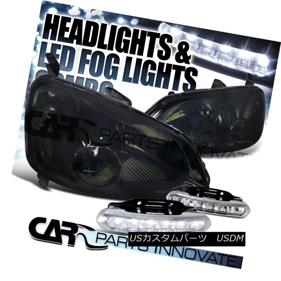 ヘッドライト Fit 2001-2003 Honda Civic 2/4Dr JDM Smoke Headlights+6-LED Bumper Fog Lamps Pair フィット2001?2003ホンダシビック2 / 4Dr JDMスモークヘッドライト+ 6-L  EDバンパーフォグランプペア
