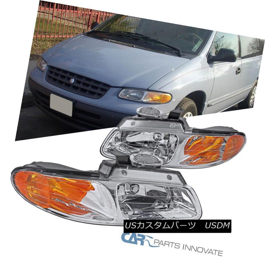 ヘッドライト 1996-2000 Caravan Town & Country Voyager Chrome Headlights Head Lamps Left+Right 1996-2000 Caravan Town& 国Voyager ChromeヘッドライトヘッドランプLeft + Right