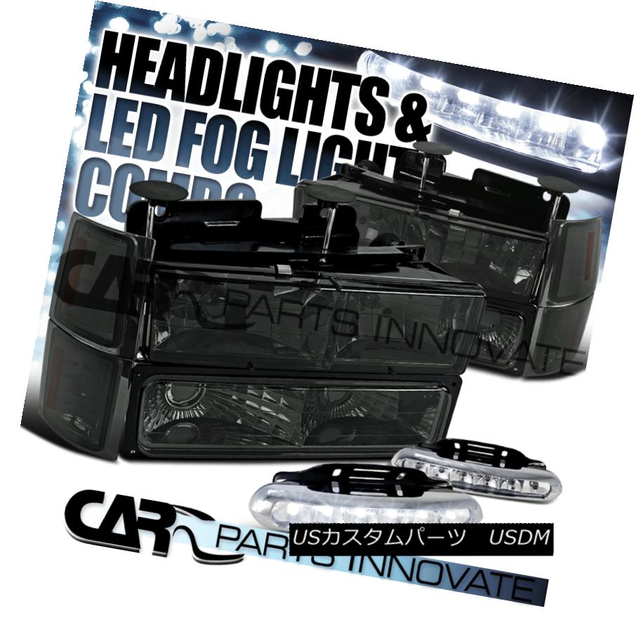 ヘッドライト 94-98 Chevy C10 C/K 1500 Smoke Headlights+Bumper Corner Lamps+6-LED Fog Lamps 94-98 Chevy C10 C / K 1500スモークヘッドライト+ Bum  /コーナーランプ+ 6-LEDフォグランプ