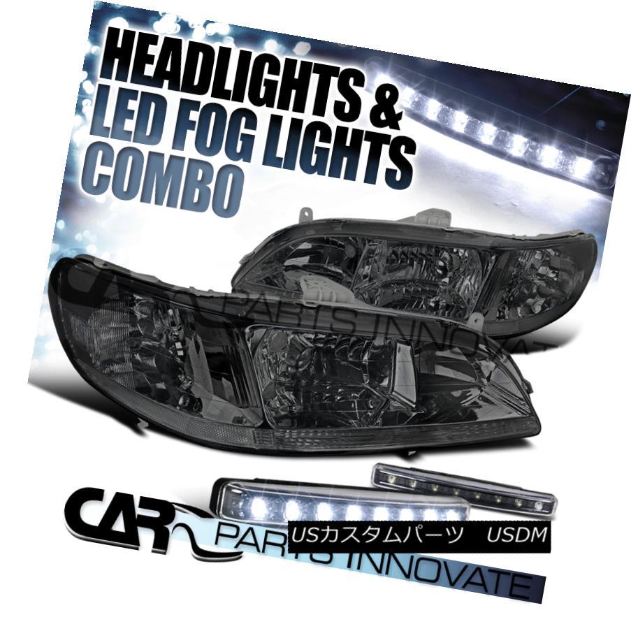 ヘッドライト For 98-02 Honda Accord Headlights Corner Lamps JDM Smoke+8-LED Bumper Fog Lamps 98-02ホンダアコードヘッドランプコーナーランプJDMスモーク+ 8 LEDバンパーフォグランプ