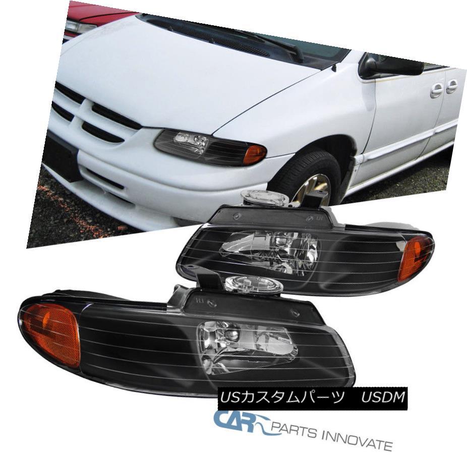 ヘッドライト 1996-2000 Caravan Town & Country Voyager Replacement Black Amber Euro Headlights 1996-2000 Caravan Town& カントリーヴォイジャー交換黒琥珀ユーロヘッドライト