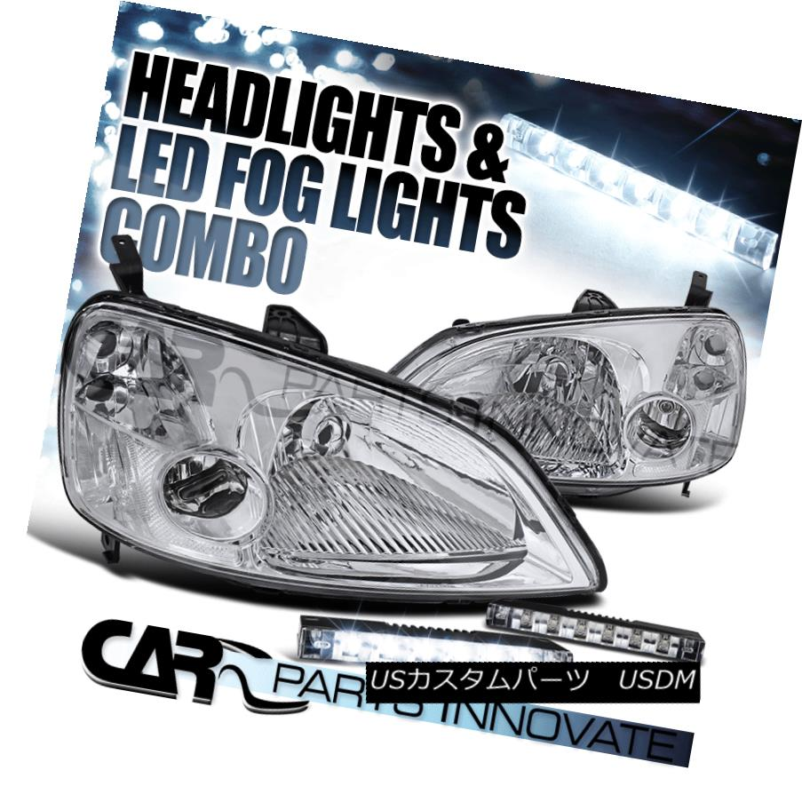ヘッドライト For 01-03 Civic EM ES 2/4Dr Chrome Crystal Headlight+6-LED Bumper Fog Light 01-03 Civic EM ES 2 / 4Drクロームクリスタルヘッドライト+ 6-LE Dバンパーフォグライト