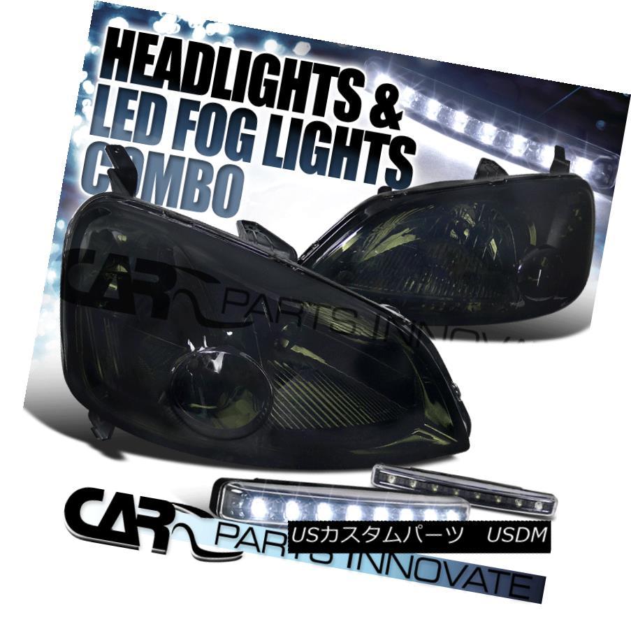 ヘッドライト Fit 01-03 Honda Civic EM ES 2/4Dr Smoke Tinted Headlights+8-LED Bumper Fog Lamps フィット01-03ホンダシビックEM ES 2 / 4Dr煙霧ヘッドライト+ 8-L  EDバンパーフォグランプ