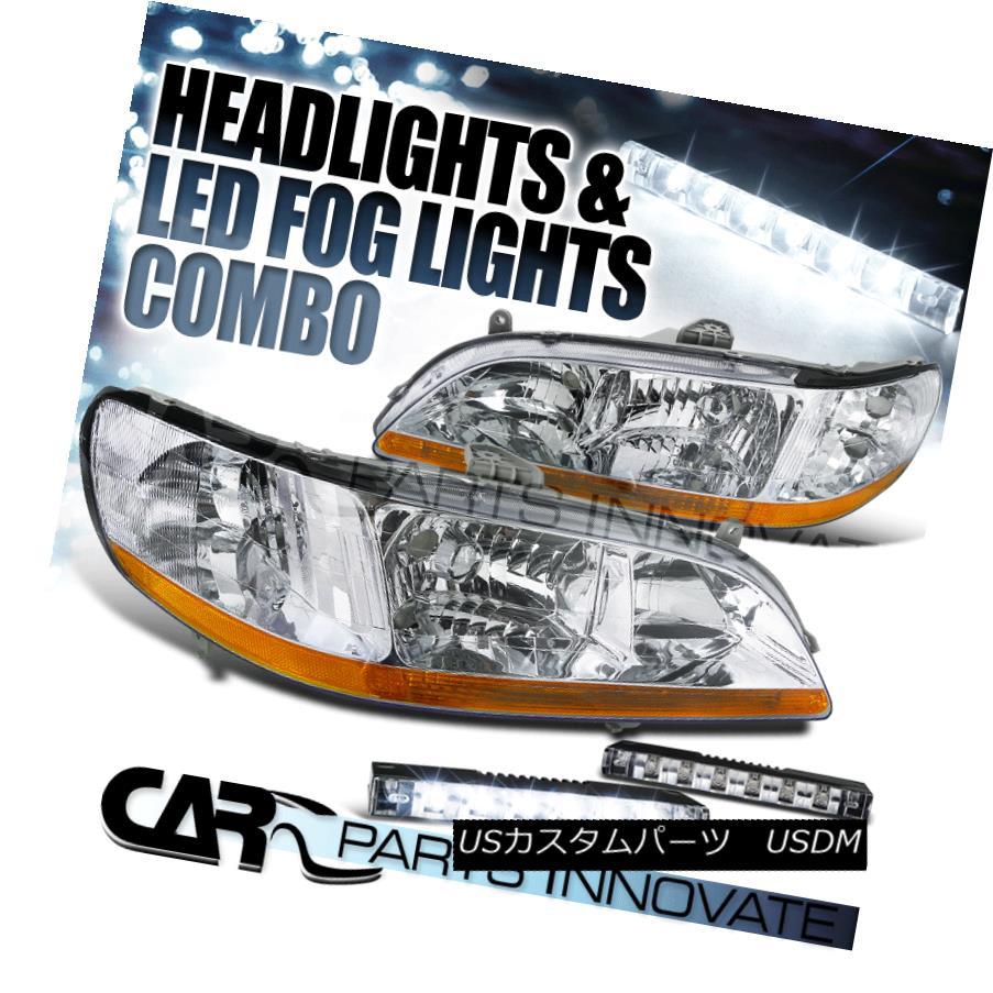 ヘッドライト Fit 98-02 Accord LX EX DX SE 2/4Dr JDM Chrome Crystal Headlight+6-LED Fog DRL フィット98-02 Accord LX EX DX SE 2 / 4Dr JDMクロームクリスタルヘッドライト+ 6-LE D Fog DRL