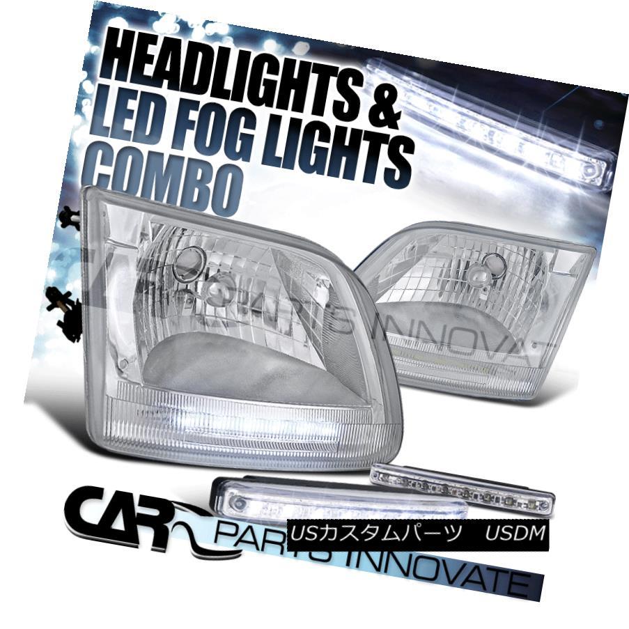 ヘッドライト 97-03 F150 97-02 Expedition JDM Chrome DRL Headlights+8-LED Fog Lamps 97-03 F150 97-02遠征JDMクロームDRLヘッドライト+ 8-L  EDフォグランプ
