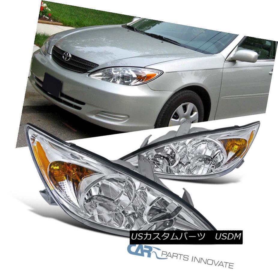 ヘッドライト Fit 02-04 Toyota Camry LE XLE SE Clear Headlights+Amber Corner Lamps Left+Right フィット02-04トヨタカムリLE XLE SEクリアヘッドライト+アンバー コーナーランプ左+右