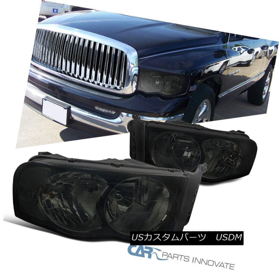ヘッドライト 2002-2005 Dodge Ram 1500 2500 3500 Euro Replacement Smoke Head Lights Lamps Pair 2002-2005ダッジラム1500 2500 3500ユーロ交換煙ヘッドランプランプペア