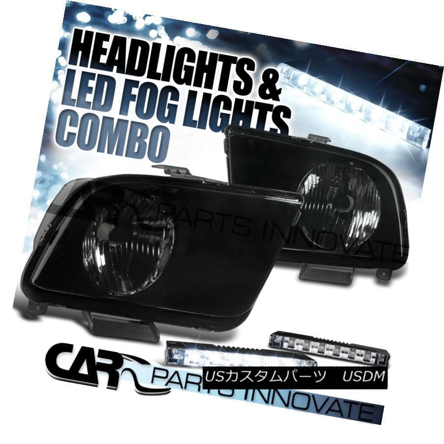 ヘッドライト 2005-2009 Ford Mustang GT Black Smoke Tint Lens Headlights+6-LED Fog Lamps Pair 2005-2009フォードマスタングGTブラックスモークティントレンズヘッドライト+ 6-L  EDフォグランプペア