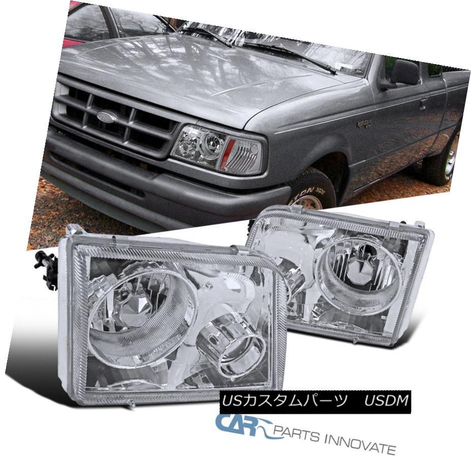 ヘッドライト 1993-1997 Ford Ranger Pickup Chrome Clear Headlights w/ Projector Fog Lamps Pair 1993-1997フォードレンジャーピックアップクロームクリアヘッドライト(プロジェクター付き)フォグランプペア