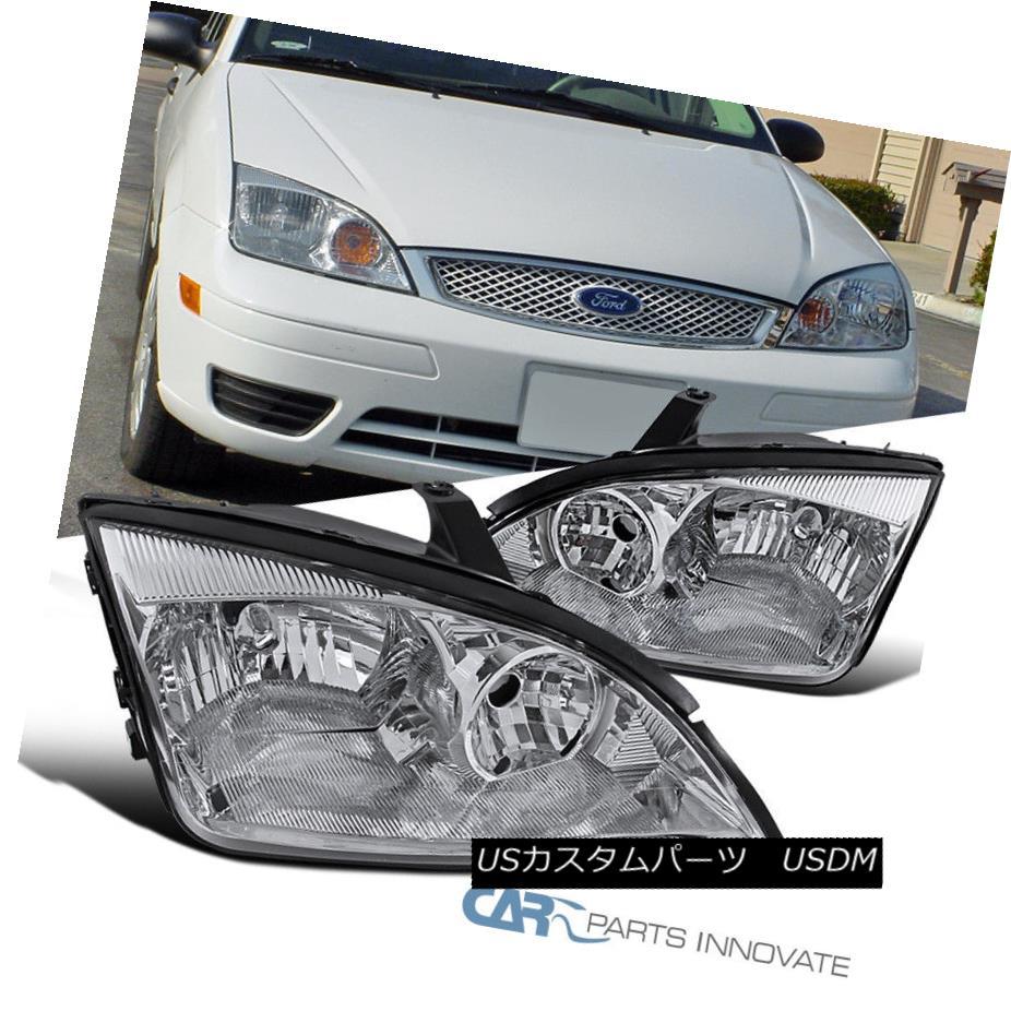 ヘッドライト 2005-2007 Ford Focus ZX4 ST Replacement Chrome Clear Headlights Head Lamps Pair 2005-2007フォードフォーカスZX4 ST交換クロームクリアヘッドライトヘッドランプペア