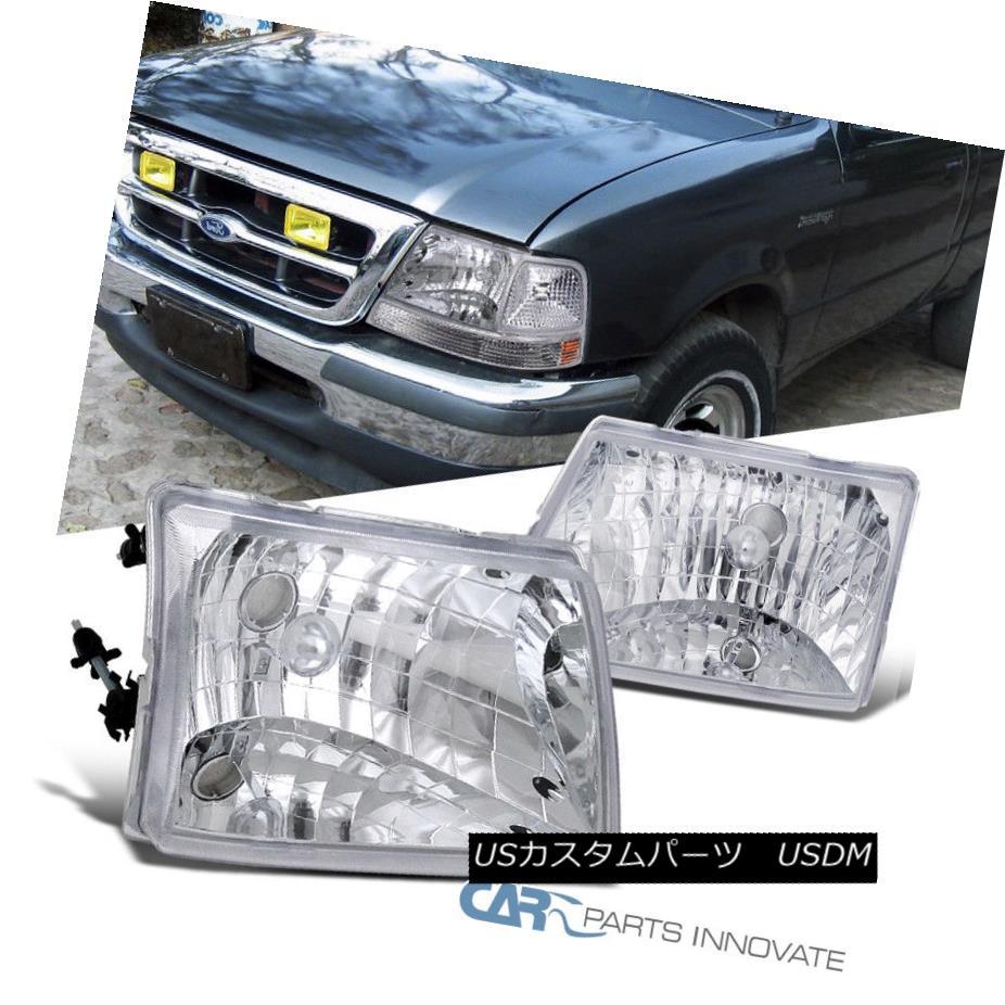 ヘッドライト 1998-2000 Ford Ranger Pickup Euro Style Replacement Headlights Chrome Clear Pair 1998-2000フォードレンジャーピックアップユーロスタイルの交換ヘッドライトクロームクリアペア