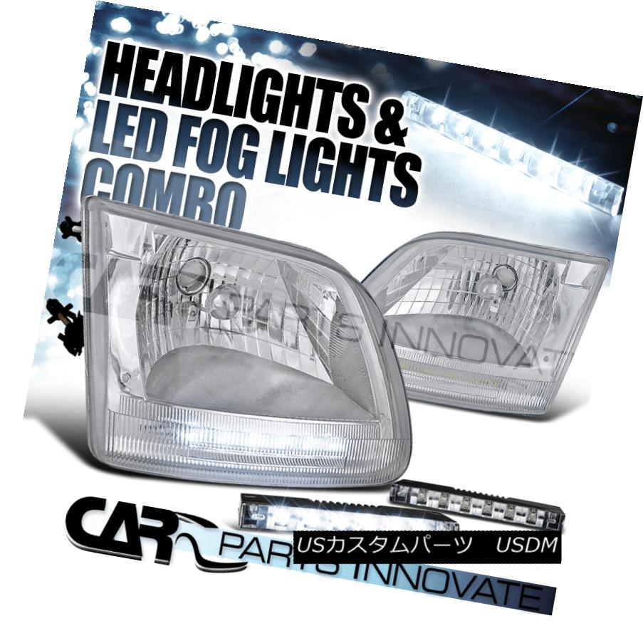 ヘッドライト Ford 97-02 F150 Expedition Chrome Clear LED DRL Headlights+6-LED Fog Lamps フォード97-02 F150遠征クロームクリアLED DRLヘッドライト+ 6-L  EDフォグランプ