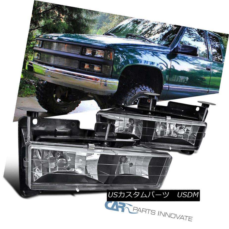 ヘッドライト 88-98 C10 C/K Silverado Sierra 94-99 Suburban Black Clear Headlights Lamps Pair 88-98 C10 C / K Silverado Sierra 94-99郊外のブラッククリアヘッドライトランプペア