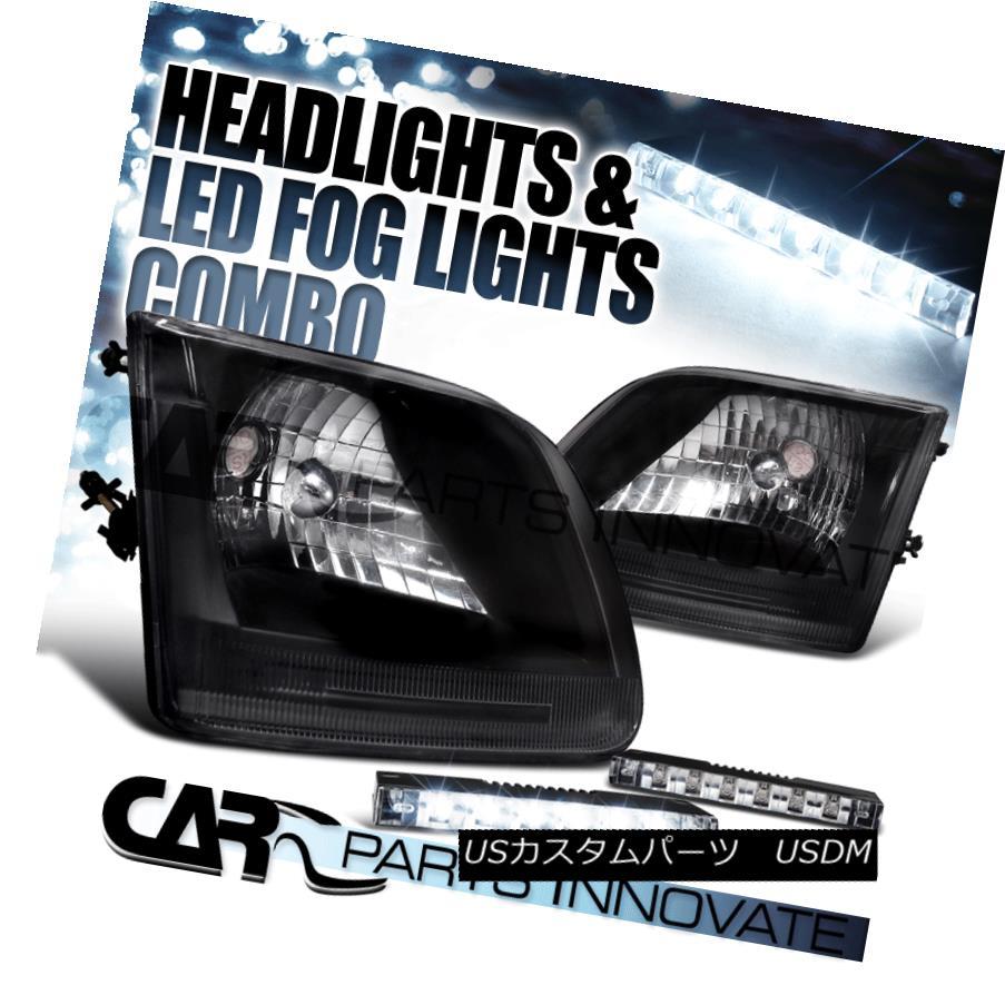 ヘッドライト 97-03 Ford F150 Expedition Crystal Black Headlights+6-LED Bumper Fog Lamps 97-03フォードF150遠征クリスタルブラックヘッドライト+ 6-L  EDバンパーフォグランプ