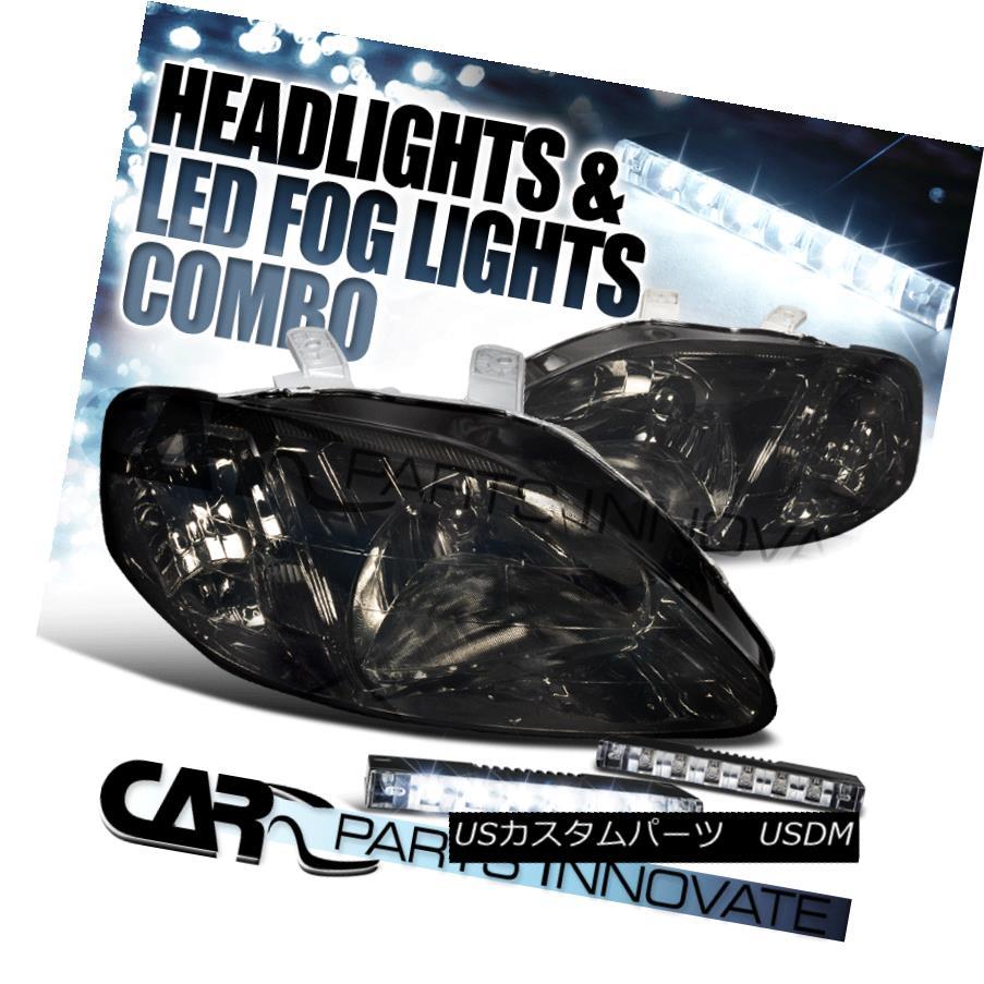 ヘッドライト For 99-00 Honda Civic 2/3/4Dr Smoke Tint Lens Headlights+6-LED Bumper Fog Lamps 99-00ホンダシビック2/3 / 4Drスモークティントレンズヘッドライト+ 6-L  EDバンパーフォグランプ