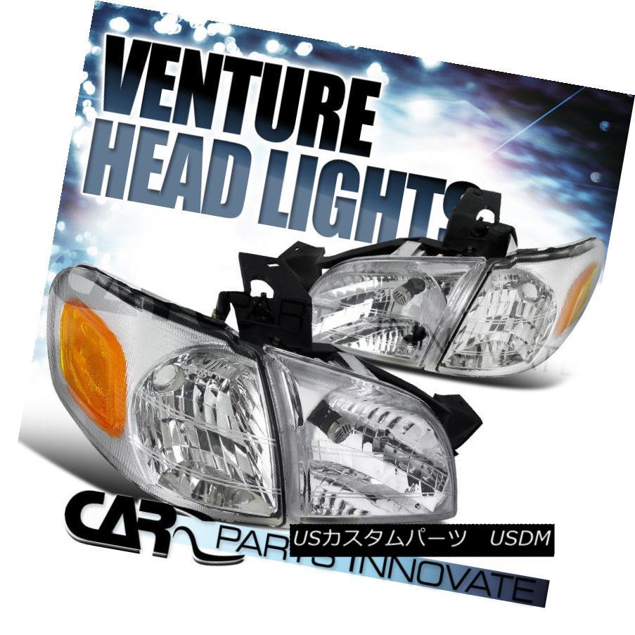 ヘッドライト 97-05 Venture Silhouette 99-05 Montana Chrome Head Lights Corner Parking Lamps 97-05ベンチャーシルエット99-05モンタナクロームヘッドライトコーナーパーキングランプ