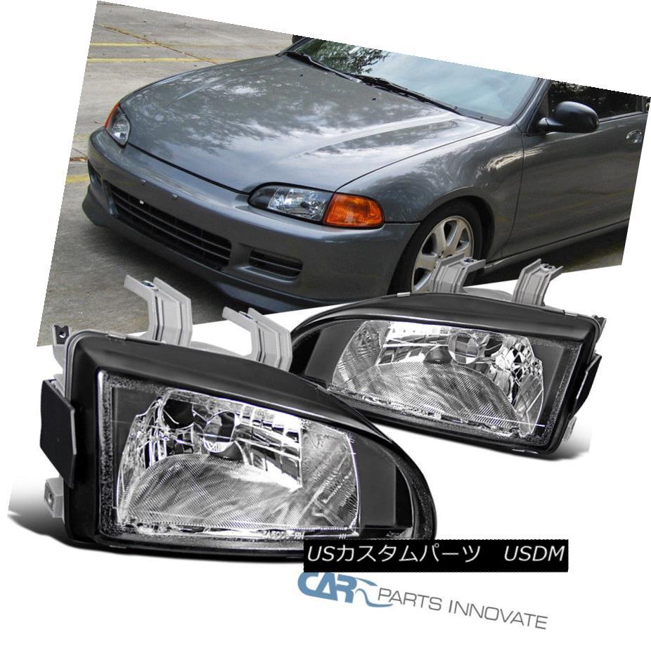 ヘッドライト For 92-95 Honda Civic Replacement Black Headlights Driving Head Lamps Left+Right 92-95ホンダシビック交換用ブラックヘッドライトヘッドランプを左右に駆動する場合