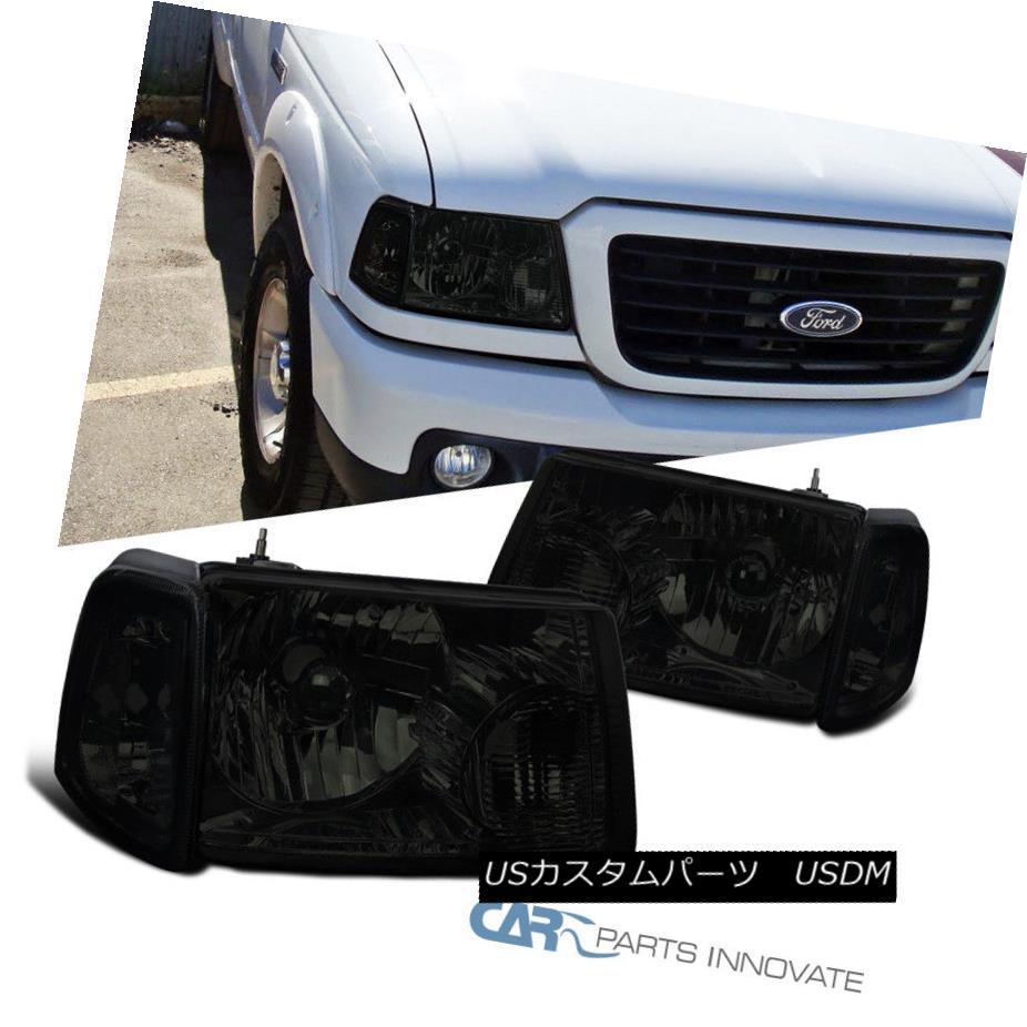 ヘッドライト 01-11 Ford Ranger Pickup Truck Smoke Lens Crystal Headlights+Corner Signal Lamps 01-11フォードレンジャーピックアップトラックスモークレンズクリスタルヘッドライト+ Cor  ner信号ランプ