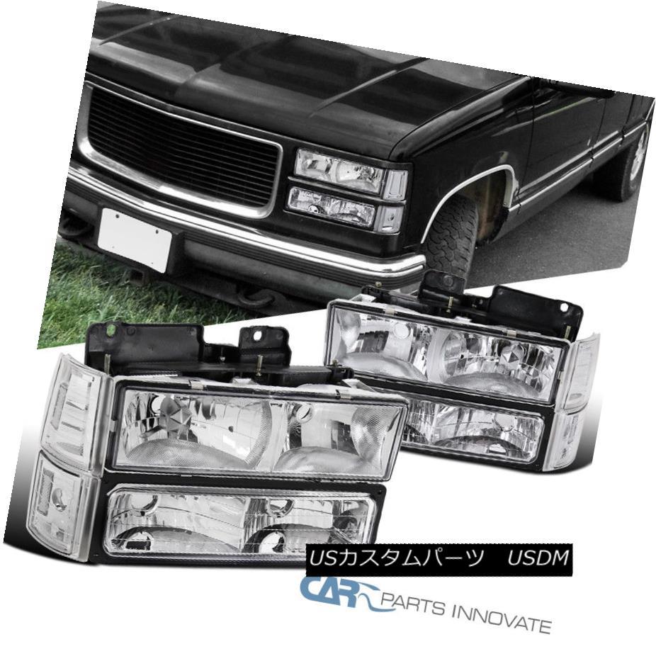 ヘッドライト 94-99 GMC C10 C/K Sierra Yukon Clear Headlights Bumper Lights Corner Lamps Pair 94-99 GMC C10 C / Kシエラ・ユーコンクリアヘッドライトバンパーライトコーナーランプペア