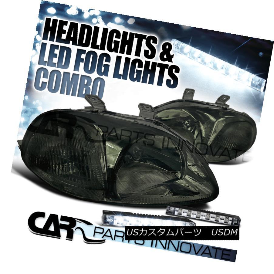 ヘッドライト For 96-98 Honda Civic EX Dx 2/3/4Dr Smoke Tint Lens Headlights+6-LED Fog Lamps 96-98ホンダシビックEX Dx 2/3 / 4Drスモークティントレンズヘッドライト+ 6-L  EDフォグランプ
